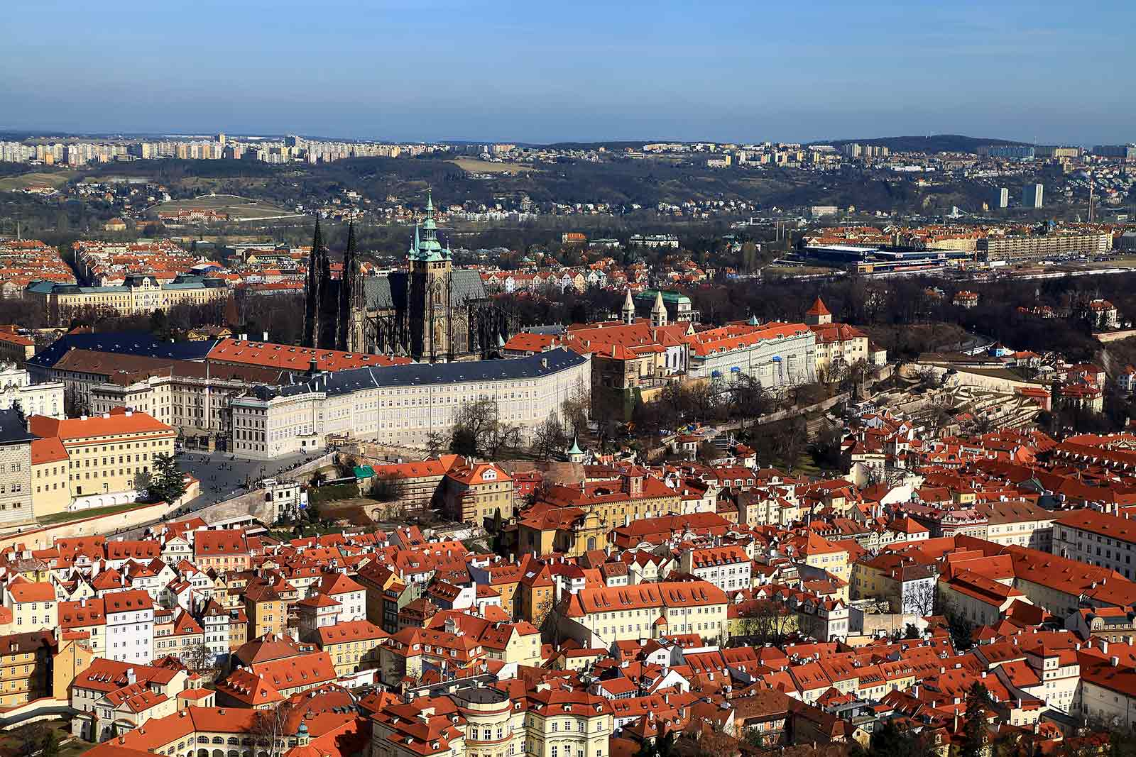The view of Prague Castle and St. Vitus Cathedral from Petrin Tower.