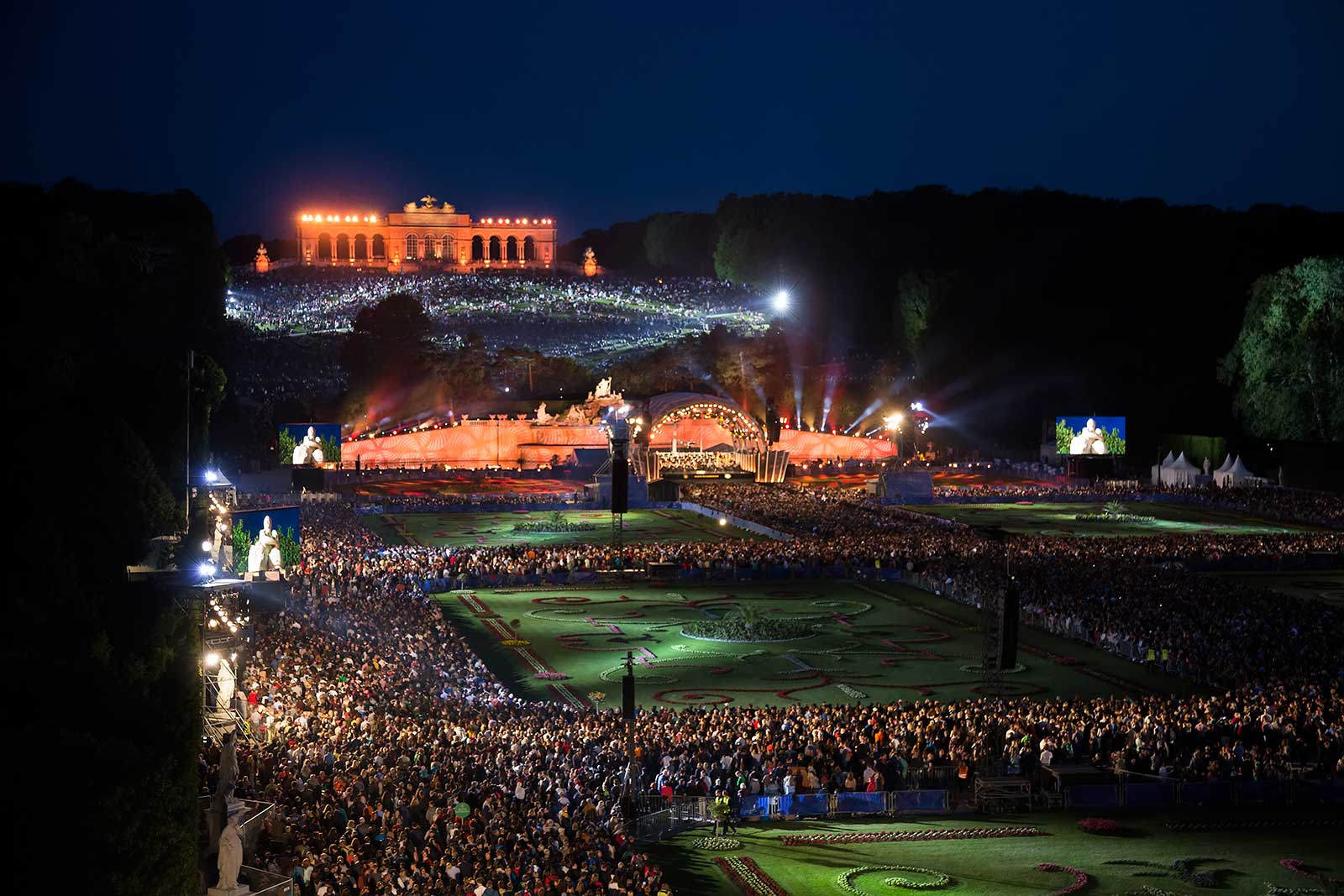 Each year the Vienna Philharmonic orchestra plays an open-air concert at Schönbrunn Palace park. The admission is free and it has been held every year (around May) since 2004. Approximately 100.000 people come here every year.
