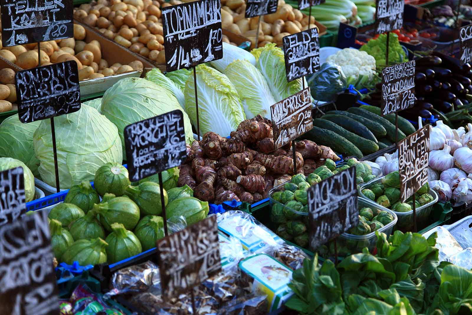 Vegetables at the Brunnenmarket in Vienna, Austria.