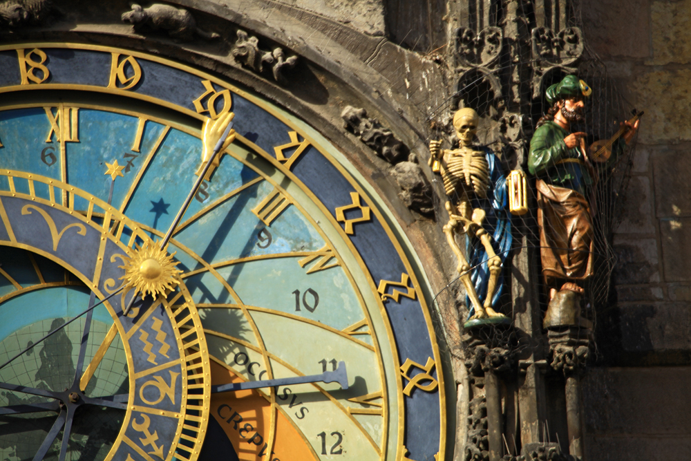 The medieval astronomical clock adorns the southern wall of the Old Town City Hall in the Old Town Square.