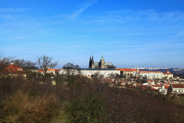 The view of the Prague Castle from Petrin Tower.