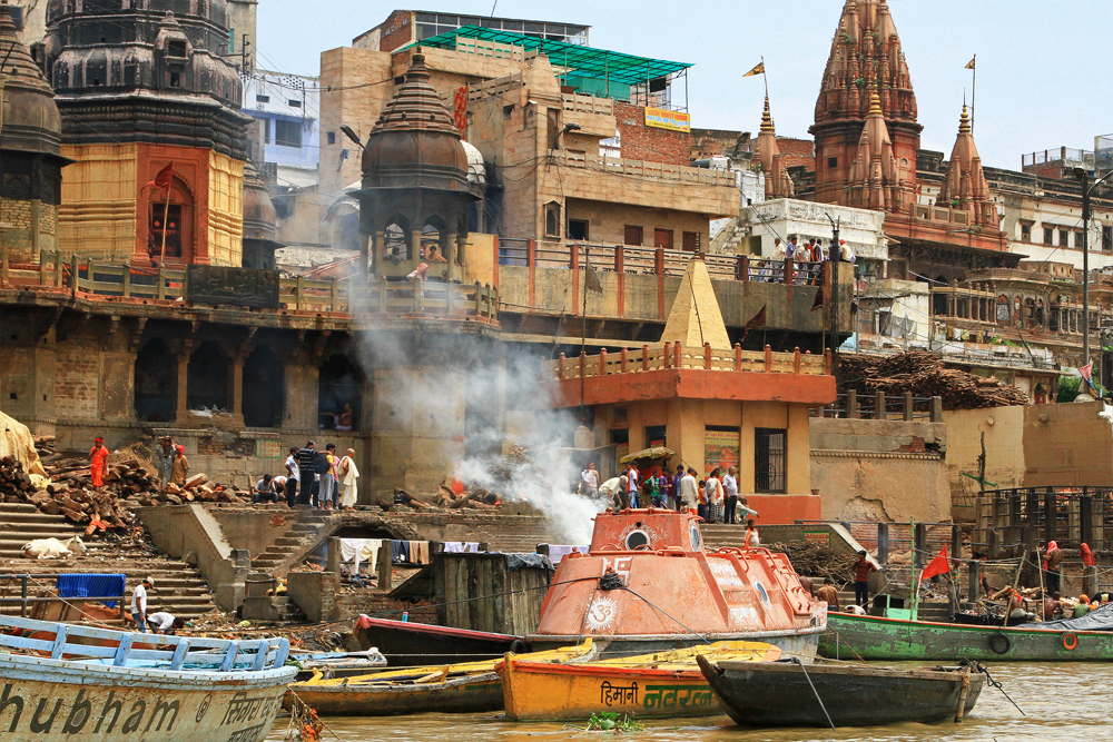 Burning grounds at the Ghats in Varanasi, India.