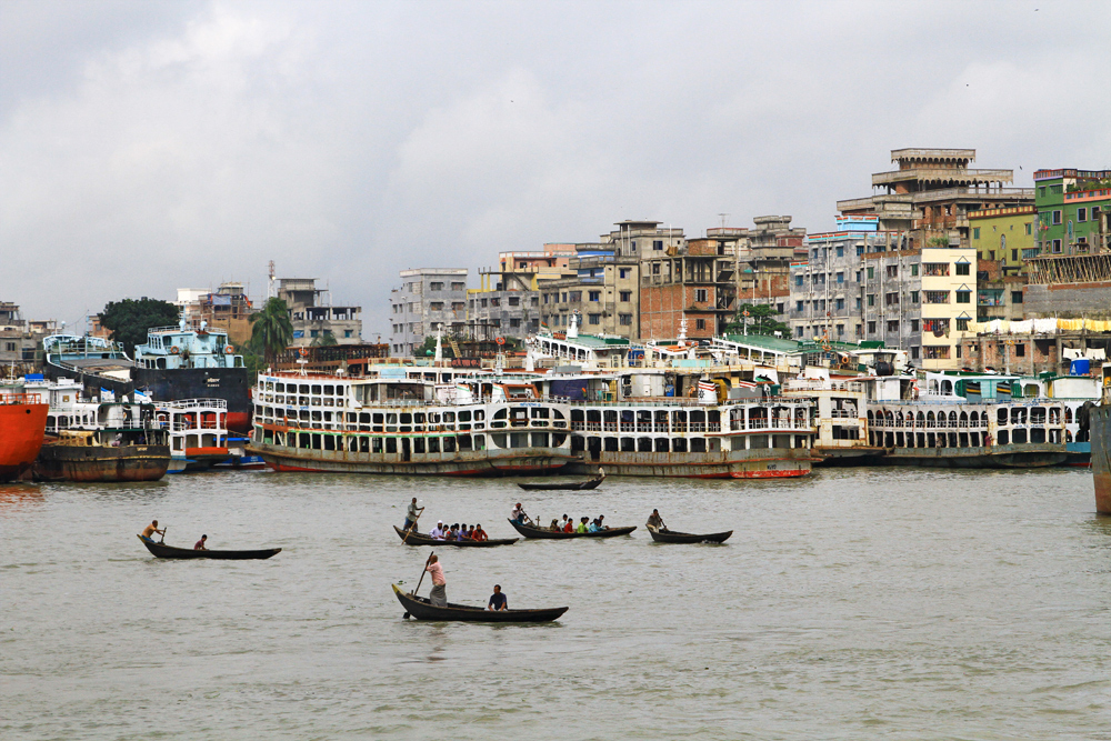 Sadarghata harbour in Dhaka, Bangladesh.