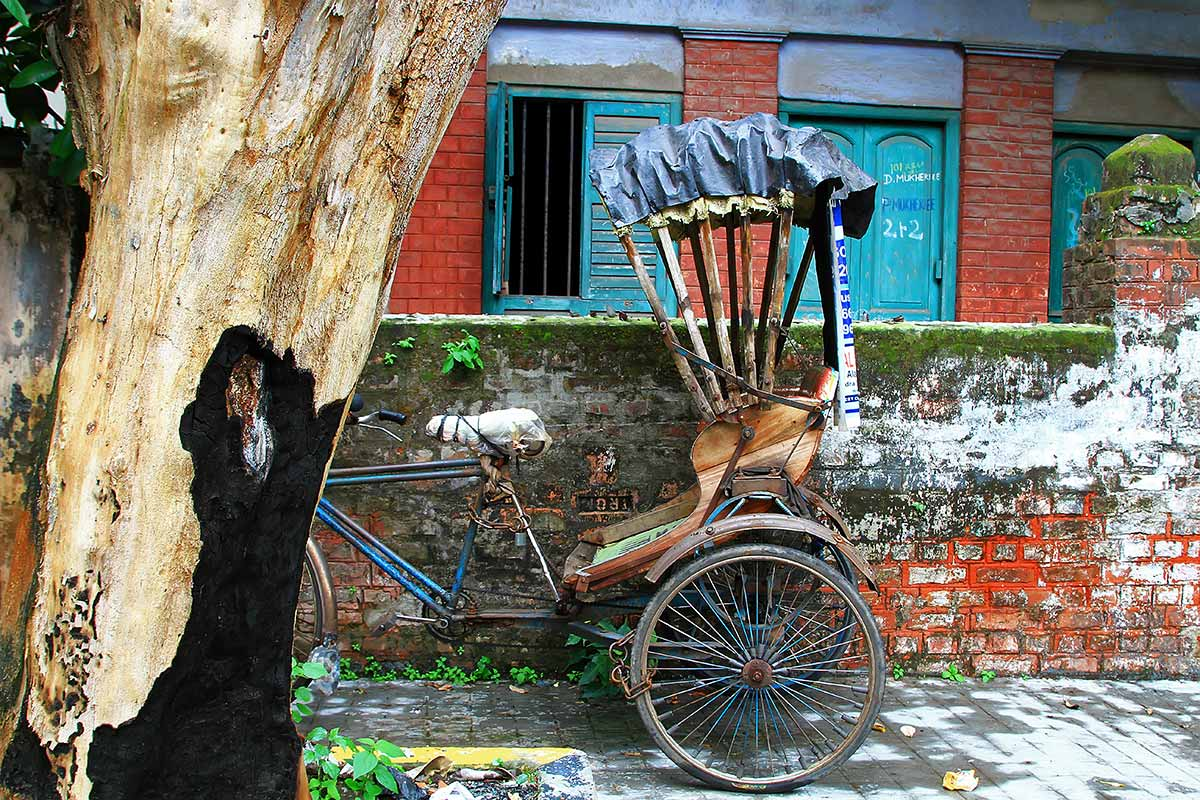 Rickshaws can be seen all over the city of Kolkata.