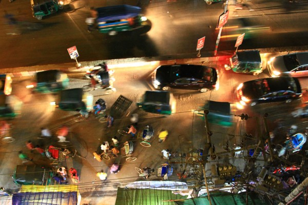 Whether it's day or night, the streets are always packed in Bangladesh.