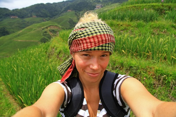 In the middle of the Dragon's Backbone Rice Terraces.