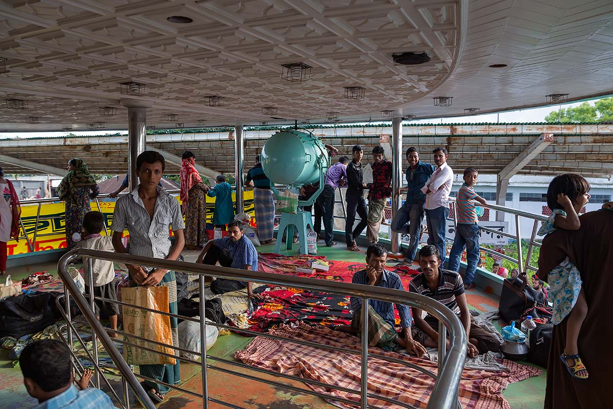 On deck on our ferry from Dhaka to Galachipa. Very often the launches in Bangladesh are overloaded but luckily this was not the case on our travels (so far).