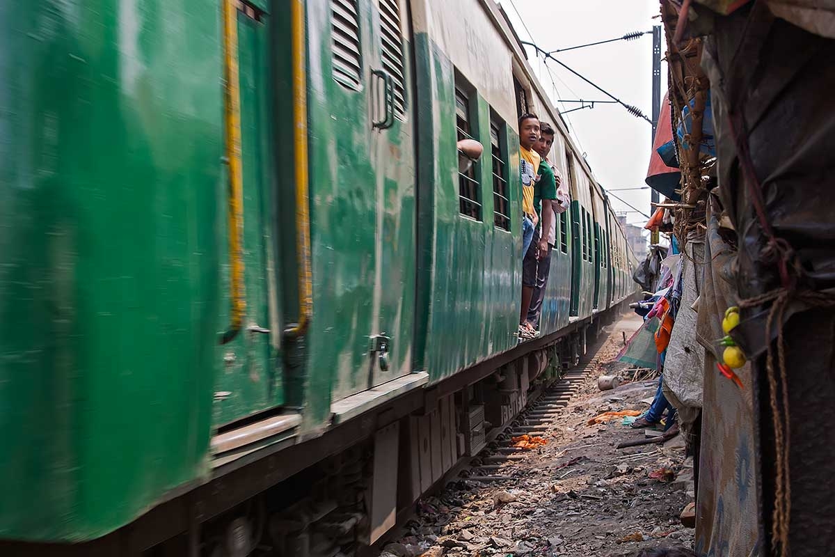 The railway tracks lead right through the Slum area in Kolkata.