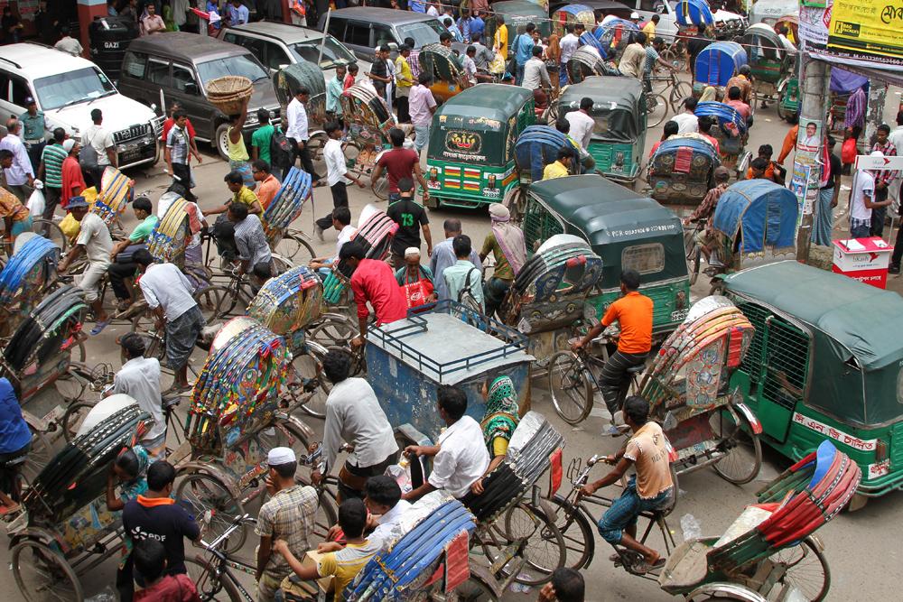 Jammed streets in Dhaka, Bangladesh.