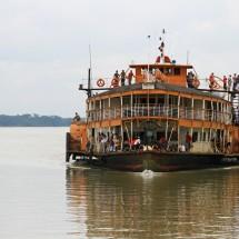 Rocket steamer arriving at Galachipa port in the Sundarbans, Bangladesh.