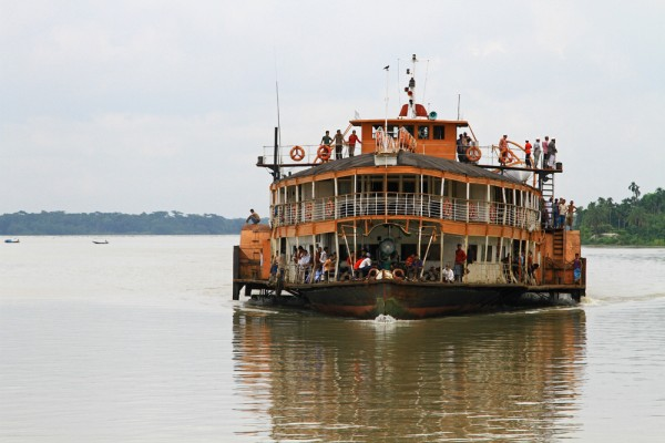 Rocket steamer arriving at Galachipa port in the Sundarbans, Bangladesh.