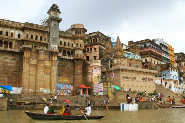 The view of Varanasi from a boat ride on the Ganges river.