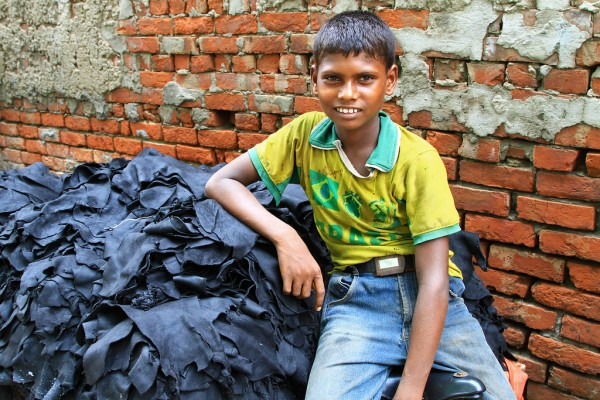 Child labour at the tanneries in Dhaka, Bangladesh.