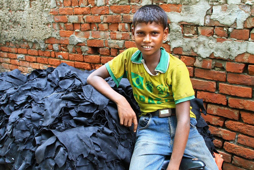 Many children work 12 or even 14 hours a day at one of the leather tanneries in Dhaka, considerably more than the five-hour limit for adolescents in factory work established by Bangladeshi law.