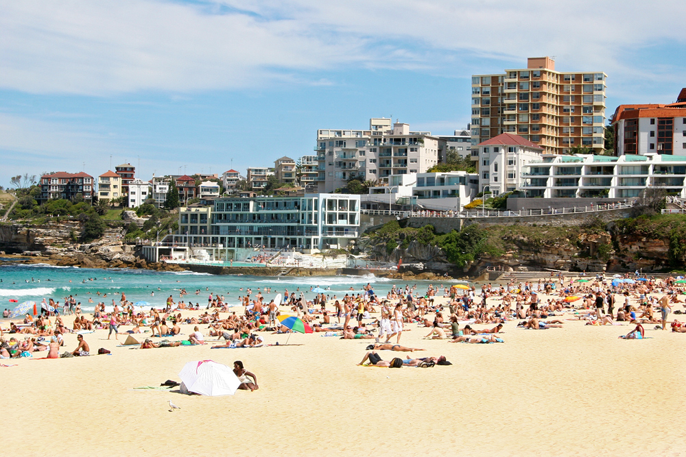 Croweded Bondi beach in Sydney, Australia.