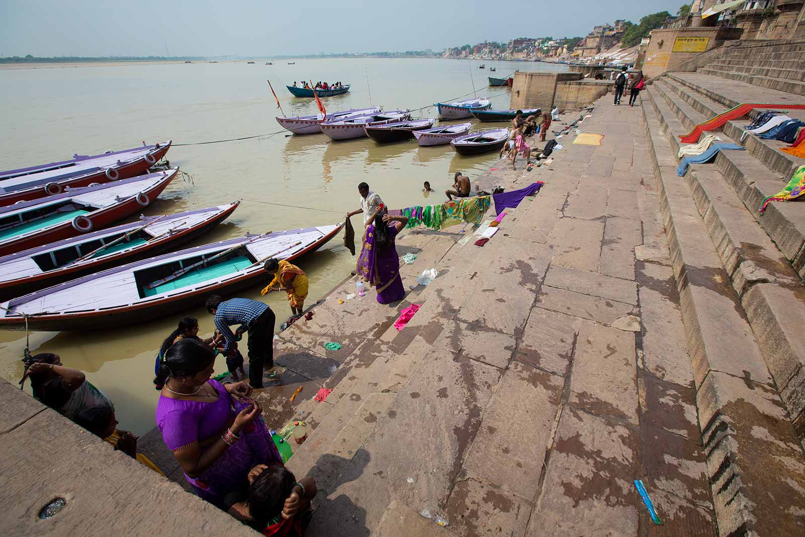 Drying and washing of clothes happens all along the Ghats in Varanasi.