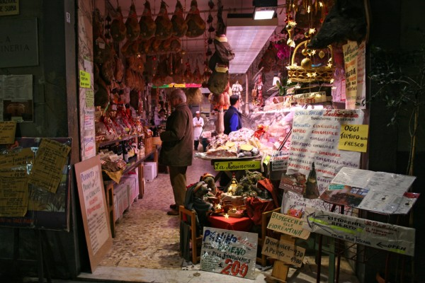 A typical, local food shop in Florence, Italy.