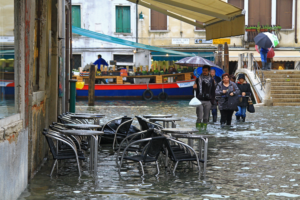 High water in the streets of Venice, Italy.