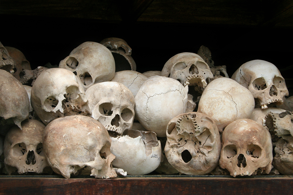 Human skulls at the Killing Fields in Cambodia.