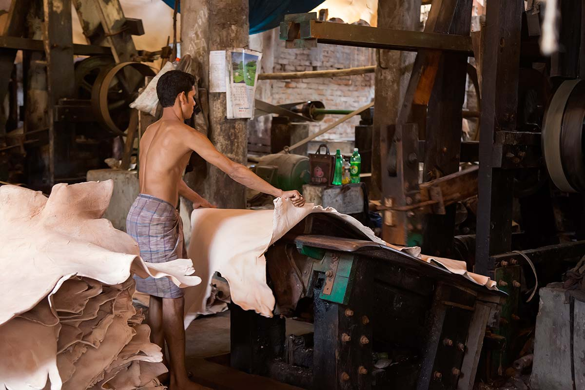 There are about 200 leather tanneries in the Hazaribagh district of Dhaka, the capital. Some use modest technology and machinery, but most operate as they did decades ago and release untreated toxic chemical waste near residential areas.