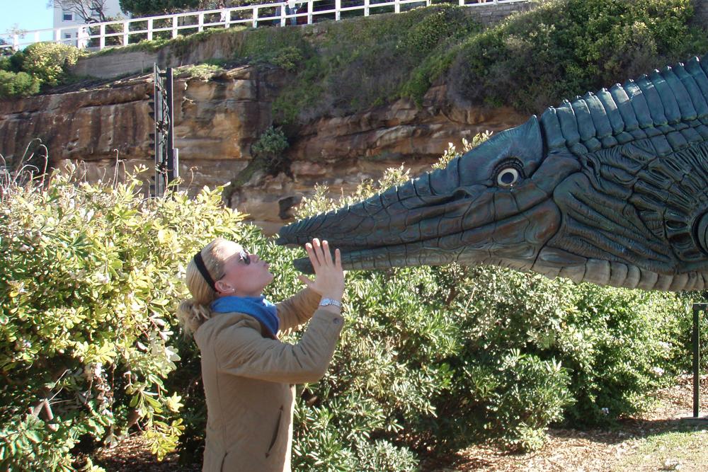 Walking along the sculpture walk in Sydney.