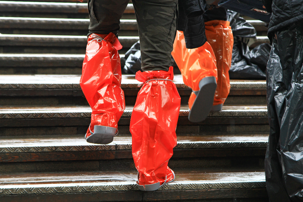 "Rubber boots are a must during ""Acqua Alta"" in Venice, Italy."