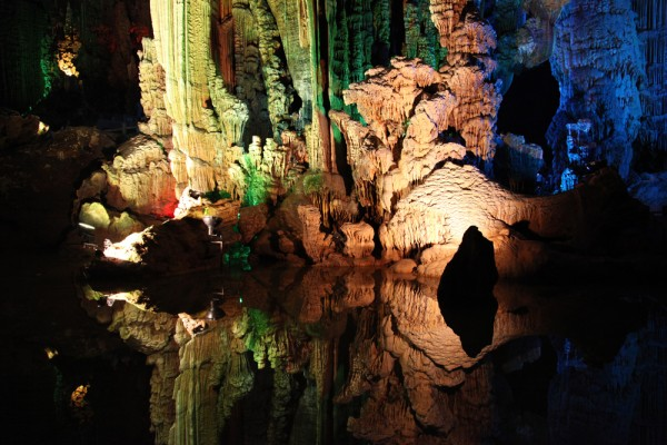 Inside Silver Cave in Yangshuo County, China.