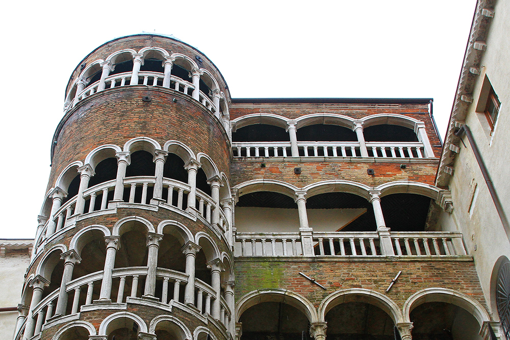 Scala Contarini del Bovolo in Venice is best known for the external spiral staircase, with a plethora of arches.