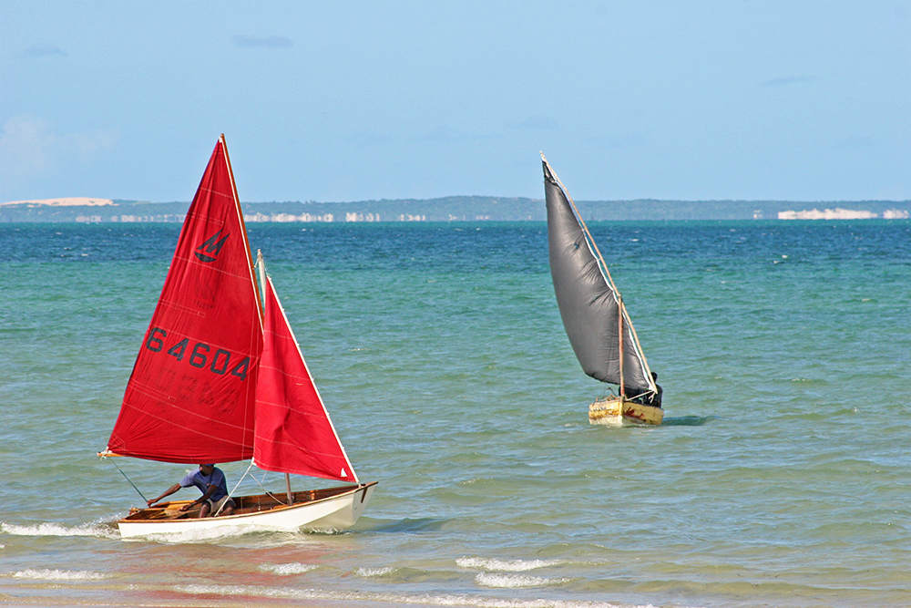 Sailing boats near Bazaruto Island in Mozambique.