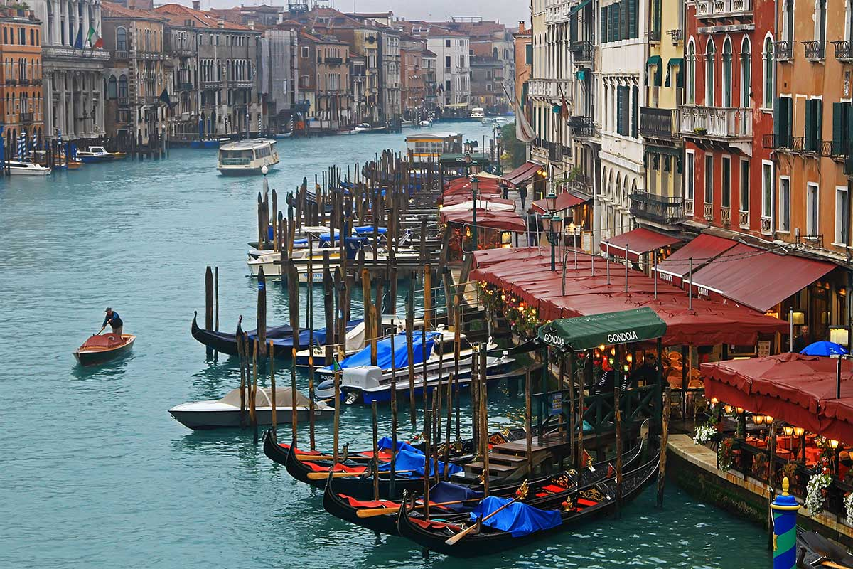 The view of the Grand Canale from the Rialto Bridge in Venice.