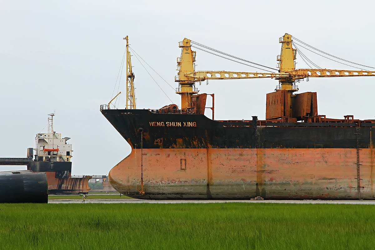 Yet the Chittagong Ship Breaking Yard is the world's largest ship-breaking industry, employs over 200.000 Bangladeshis and accounts for half of all the steel in Bangladesh.