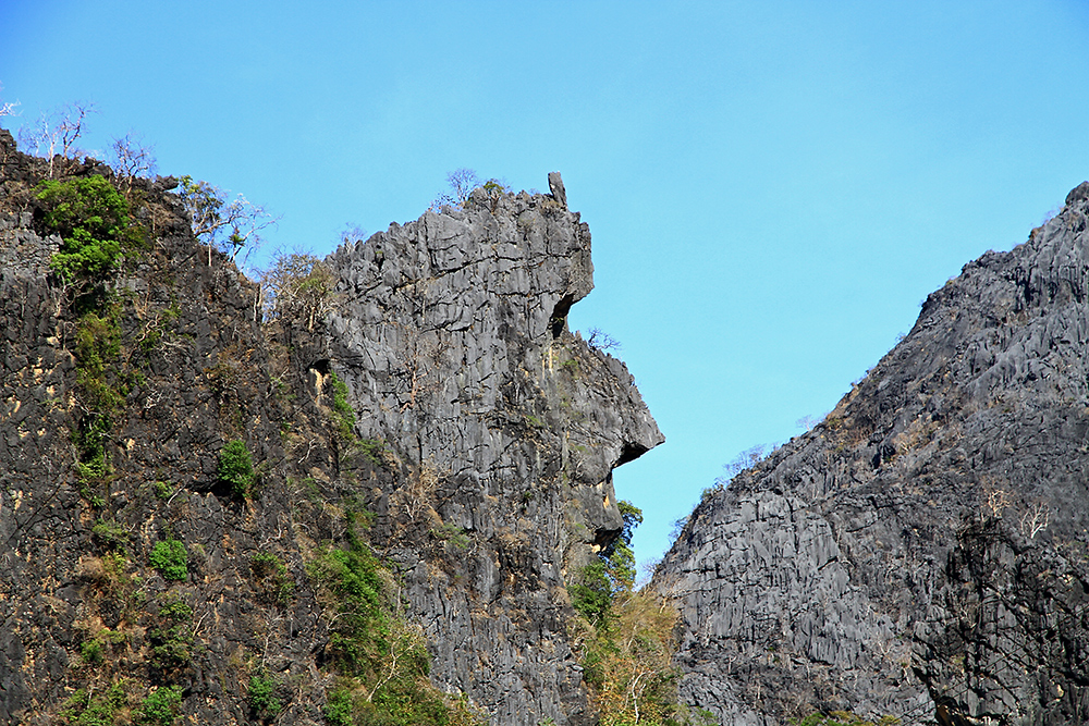 A mountain face near Thakhek, Laos.