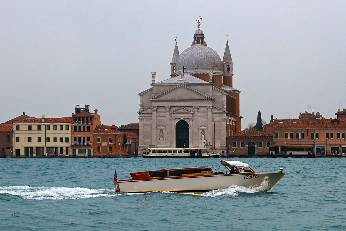 A water taxi along the lagoon in Venice.