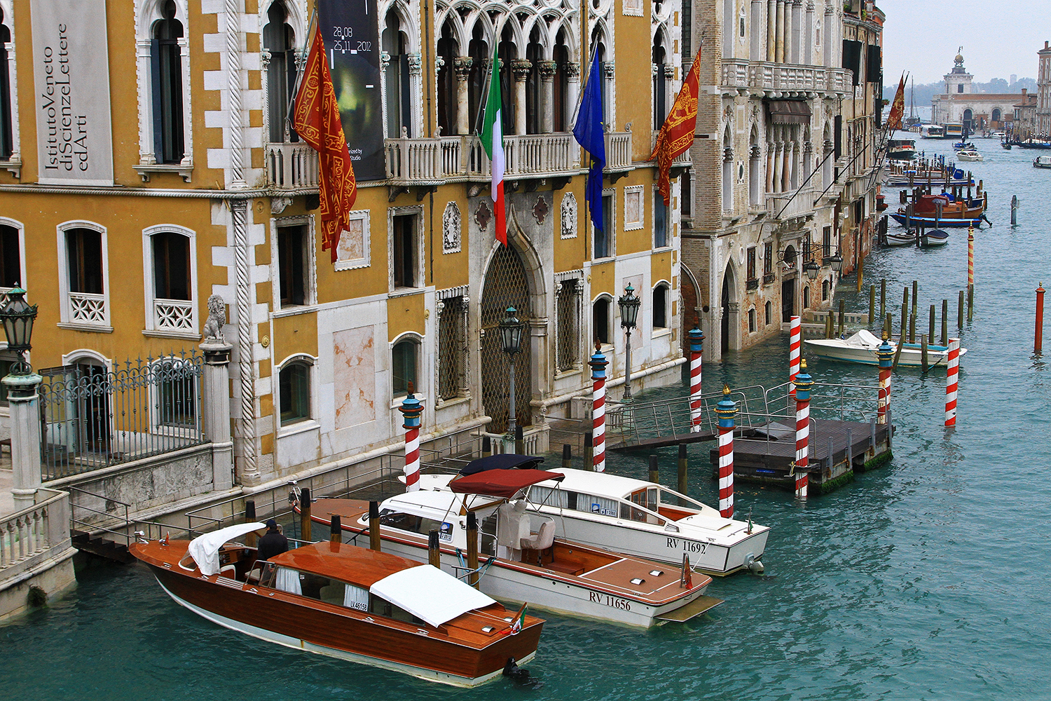 Water taxis along the canals in Venice, Italy.