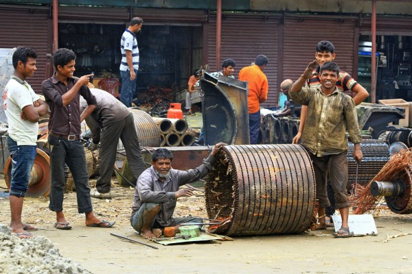 Working men in Chittagong, Bangladesh.
