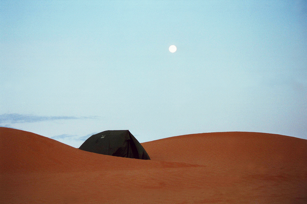 Camping in the desert of Tunesia, Africa.