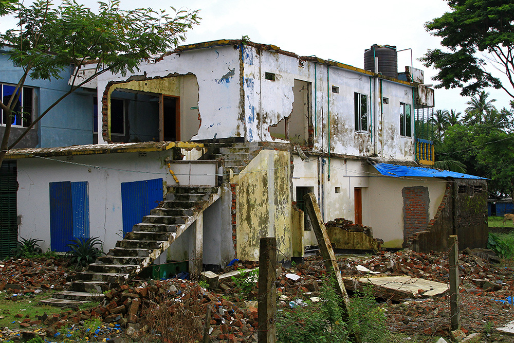 Destroyed building from the cyclone in Kuakata, Bangladesh.