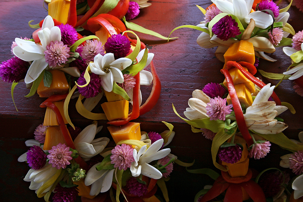 Flower greetings at Papetee airport, French Polynesia.
