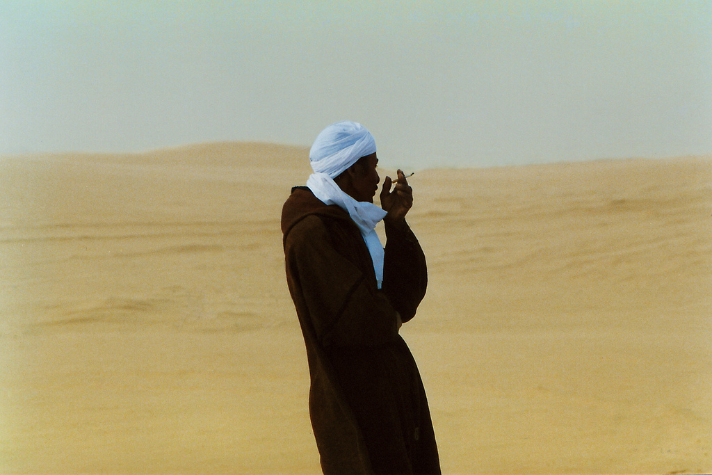 A nomad near Douz in the desert of Tunisia, Africa.