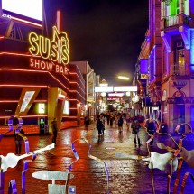 The Reeperbahn in Hamburg, Germany. Photo credit flickr member werner boehm.