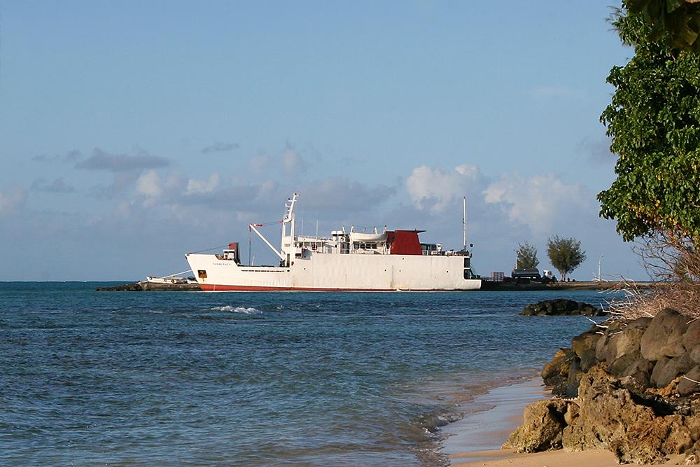 A ship at the port in Tubuai, Tahiti.