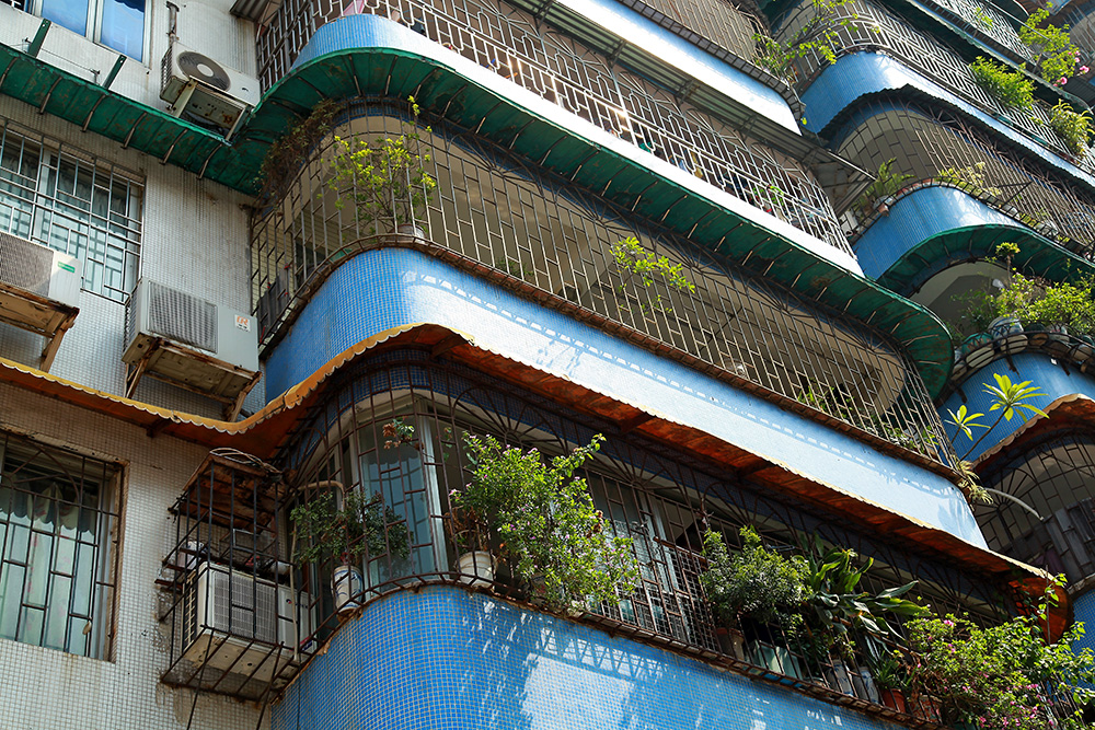 A typical apartment building in Guangzhou, China.