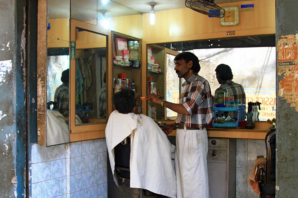 A barber shop in Varanasi, India.