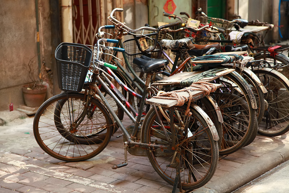 Bicycles are the best way to get around the old quarters in Guangzhou, China.
