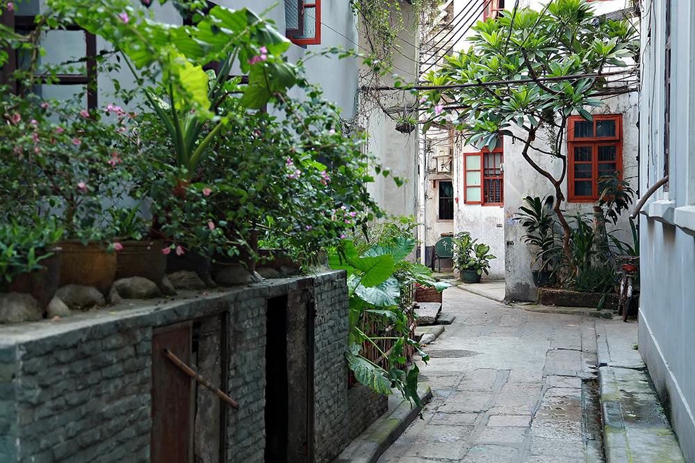 Walking along the old quarter in Guangzhou, China.