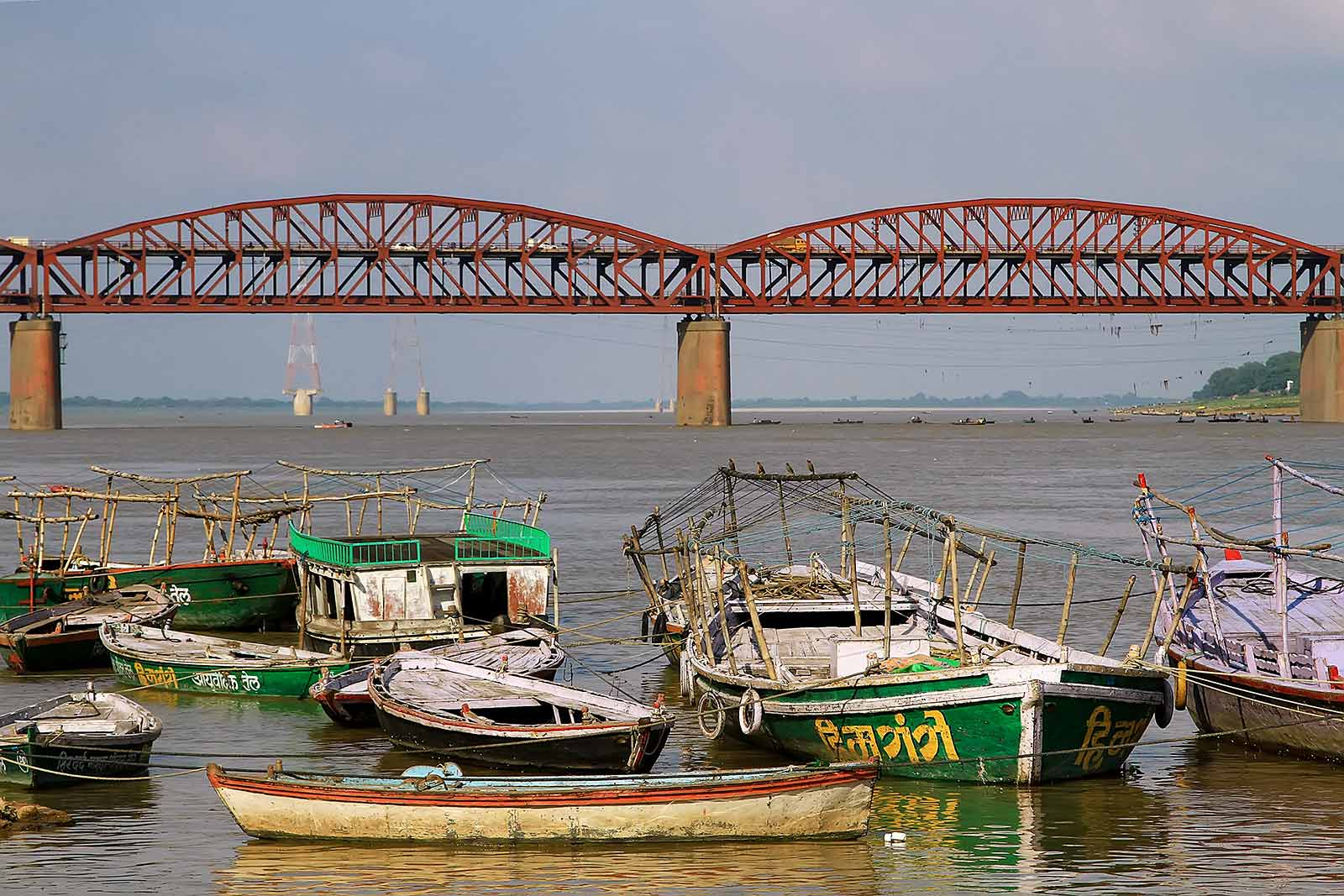Malviya Bridge in Varanasi, which was inaugurated in 1887 (originally called The Dufferin Bridge), is a double decker bridge over the Ganges river. It carries rail track on lower deck and road on the upper deck.