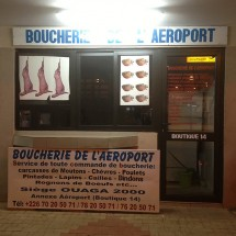 A butcher shop in the arrival hall of Ouagadougou airport, Burkina Faso.