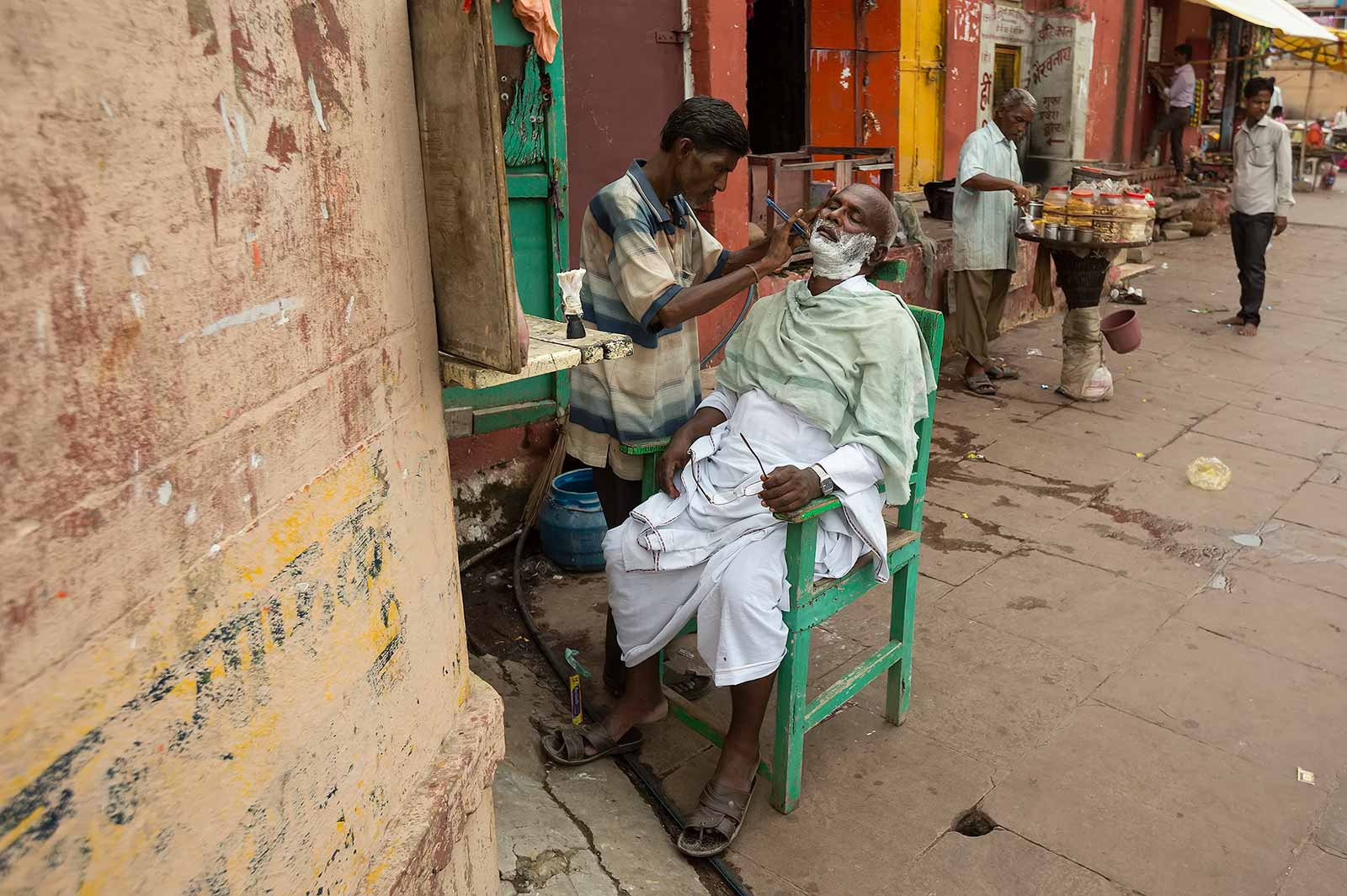 A typical barber shop along the Ghats in Varanasi.