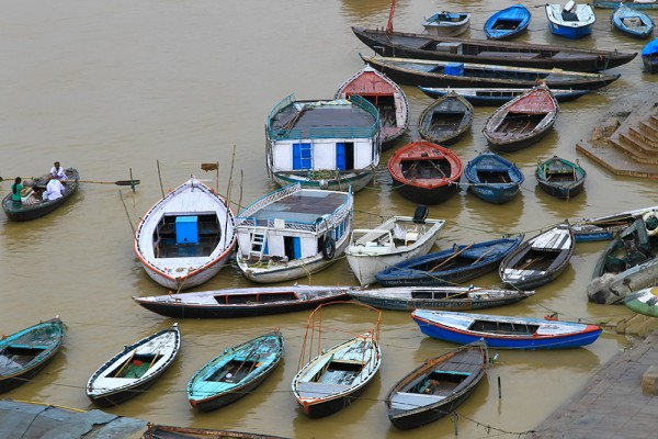 Boats along the Ghats in Varanasi, India.