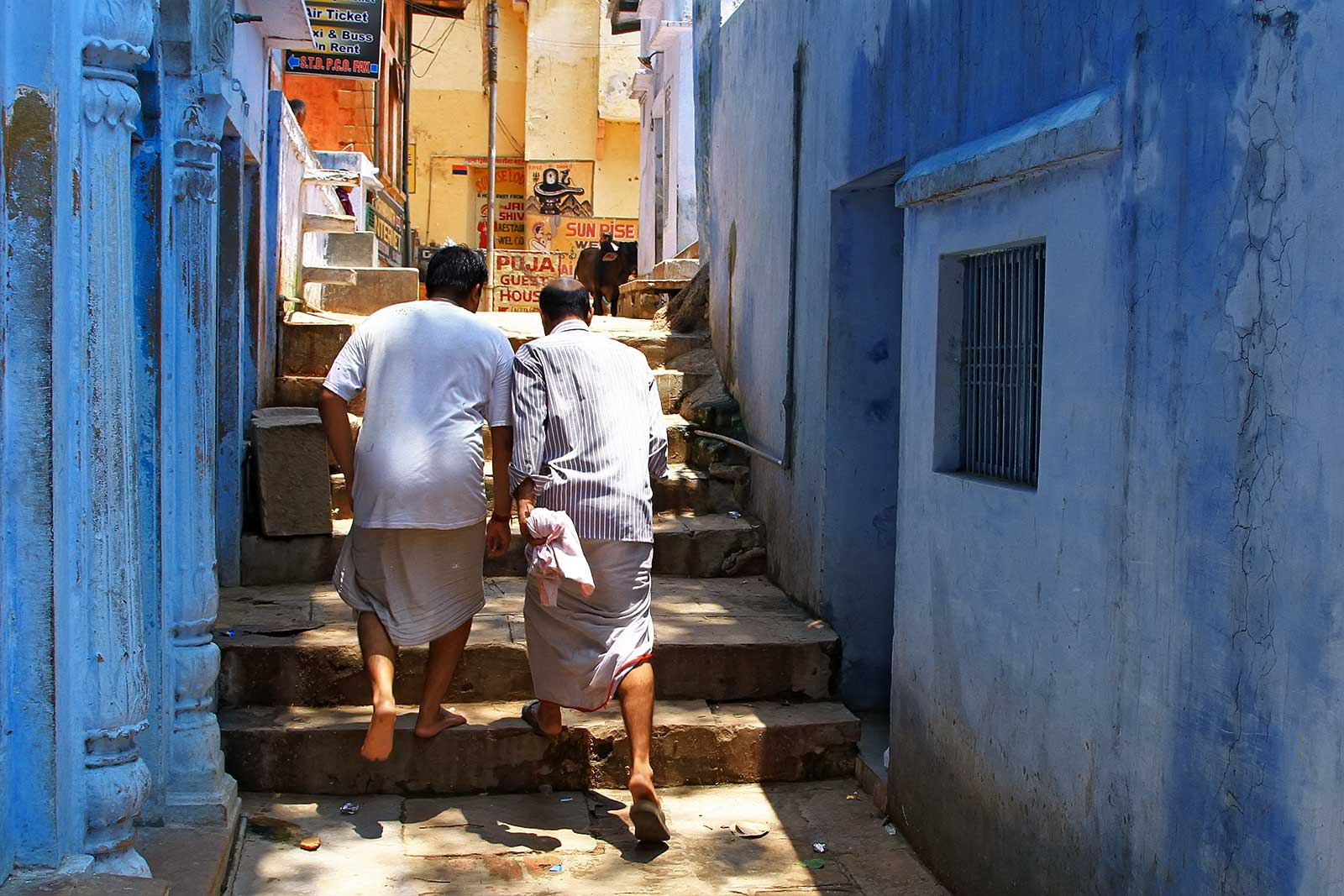 The old city of Varanasi extends about two kilometres back from the river and is a maze of alleyways and streets.
